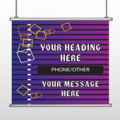Purple Stripes Hanging Banner