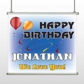 Red Orange Birthday 186 Hanging Banner