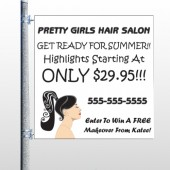Pretty Girl Hair 290 Pole Banner