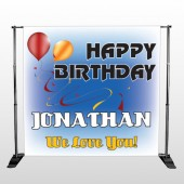 Red Orange Birthday 186 Pocket Banner Stand
