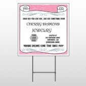 Scroll Pink Heart 397 Wire Frame Sign