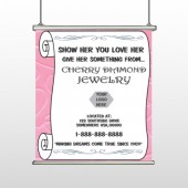 Scroll Pink Heart 397 Hanging Banner