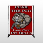 Fear Dog Mascot 51 Pocket Banner Stand