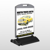 Black & Yellow Truck 117 Wind Frame Sign