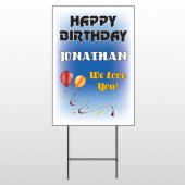Red Orange B-Day 186 Wire Frame Sign