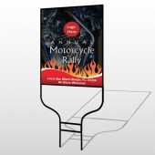 Motorcycle Flame 322 Round Rod Sign