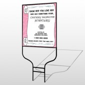 Scroll Pink Heart 397 Round Rod Sign