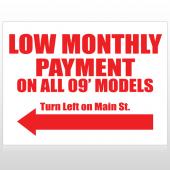 Low Monthly Left 117 Custom Sign