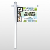 "Dog Kennels 300 18""H x 24""W Swing Arm Sign"