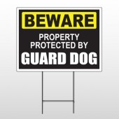 Beware Guard Dog 93 Wire Frame Sign