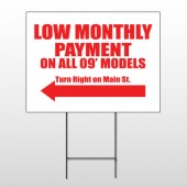 Low Monthly Left 117 Wire Frame Sign