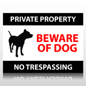 Private Property Beware Of Dog Sign Panel