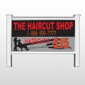 "Haircut Scissors 644 48""H x 96""W Site Sign"