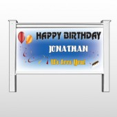 "Red Orange B-Day 186 48""H x 96""W Site Sign"