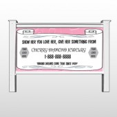 "Scroll Pink Heart 397 48""H x 96""W Site Sign"