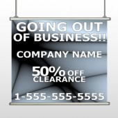 Gray Going Out of Business Sale 12 Hanging Banner