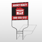 Red House Rent 360 Round Rod Sign