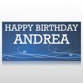 Swirls Happy Birthday Banner