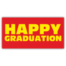 Happy Graduation Banner Red and Yellow