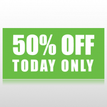 50 Percent Off Sale Banner