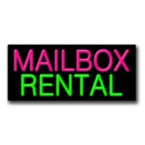 """MAILBOX RENTAL 13""""H x 32""""W Neon Sign"""