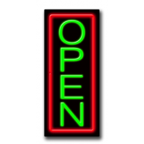 "OPEN Vertical 13""W x 32""H Neon Sign"