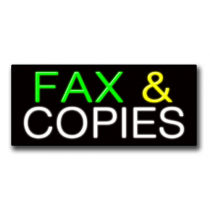 "FAX & COPIES 13""H x 32""W Neon Sign"