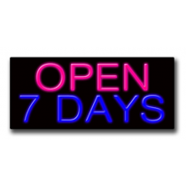 "OPEN 7 DAYS 13""H x 32""W Neon Sign"