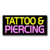 "TATTOO & PIERCING 13""H x 32""W Neon Sign"