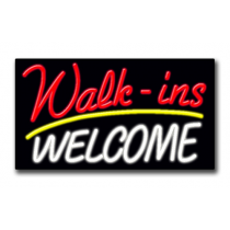 """WALK-INS WELCOME 20""""H x 37""""W Neon Sign"""
