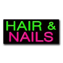 "HAIR & NAILS 13""H x 32""W Neon Sign"