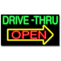 "DRIVE THRU OPEN 20""H x 37""W Neon Sign"