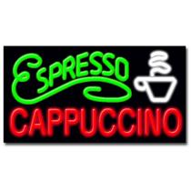 """Espresso Cappuccino 20""""H x 37""""W Neon Sign"""