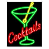 "COCKTAILS 24""W x 31""H Neon Sign"