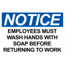 Notice Employees Must Wash Hands