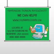 Cartoon Computer 431 Hanging Banner