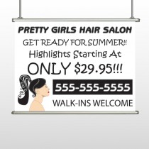Pretty Girl Hair 290 Hanging Banner