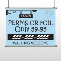 Woman Hair Sign 289 Hanging Banner