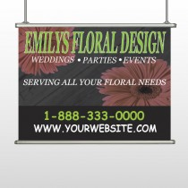 Black And Floral 496 Hanging Banner