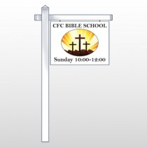 "3 Crosses 149 18""H x 24""W Swing Arm Sign"