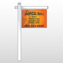 "Tropical Rayz Tan 490 18""H x 24""W Swing Arm Sign"