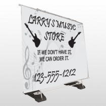 Silhouette Guitar 371 Exterior Pocket Banner Stand