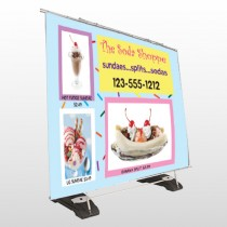 Ice Cream 374 Exterior Pocket Banner Stand