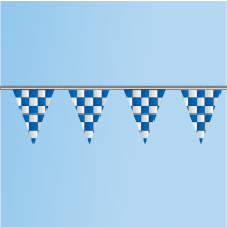 Pennant Blue, White, Checkered 100' String