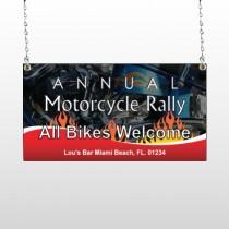 Motorcycle Flame 322 Window Sign