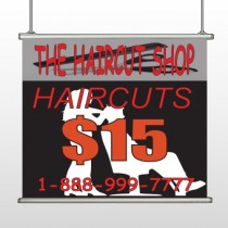 Haircut Scissor 644 Hanging Banner