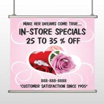 Pink Rose Hide Ring 400 Hanging Banner