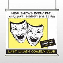 Comedy Mask 516 Hanging Banner