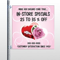 Pink Rose Hide Ring 400 Pole Banner