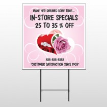 Pink Rose Hide Ring 400 Wire Frame Sign